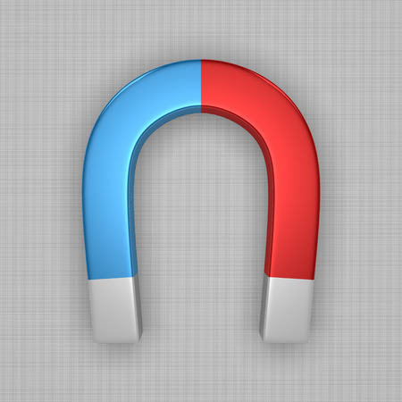 gravitation: Blue and red glossy horseshoe or U shape magnet with white tips on gray background Stock Photo