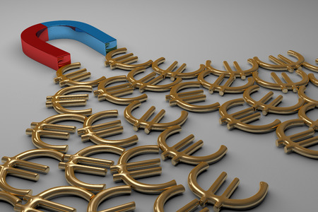 Blue and red glossy horseshoe or U shape magnet attracting many golden euro signs lying on gray background