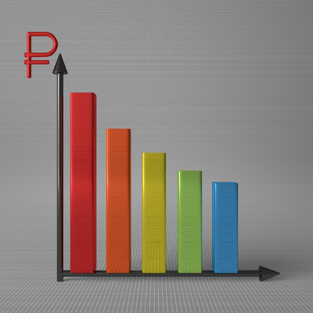 y axis: Multicolor glossy bar chart showing decrease, with ruble sign on Y axis, standing on gray background, front view