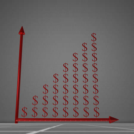 Red glossy bar chart of dollar signs showing progress, standing on gray background