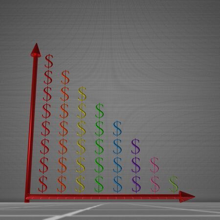 decrease: Multicolor glossy bar chart of dollar signs showing decrease, standing on gray background