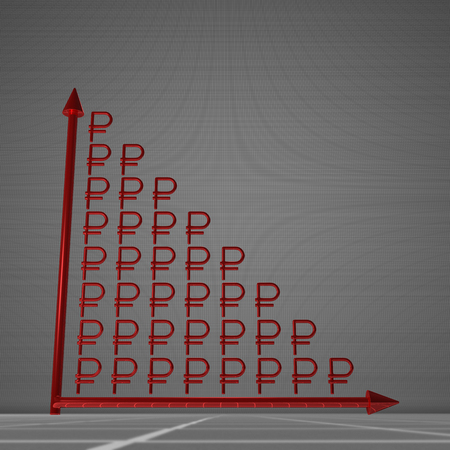 decrease: Red glossy bar chart of ruble signs showing decrease, standing on gray background