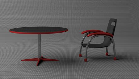 round table: Black and red chair and round table on gray background Stock Photo