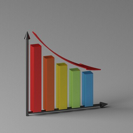 Multicolor glossy bar chart showing decrease, with red arrow and two black axis, standing on gray background