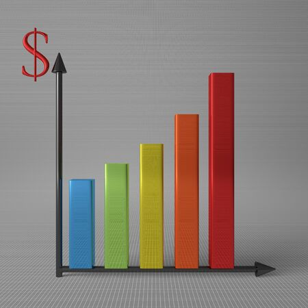 y axis: Multicolor glossy bar chart showing progress, with dollar sign on Y axis, standing on gray background, front view