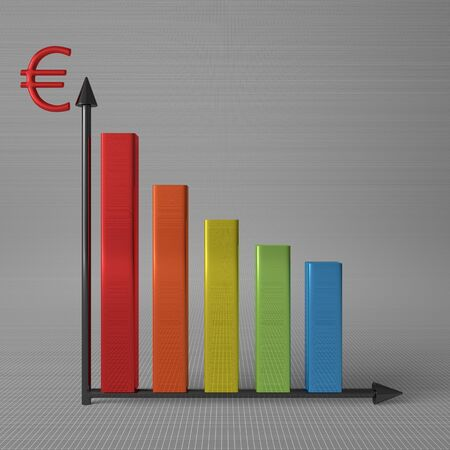 y axis: Multicolor glossy bar chart showing decrease, with euro sign on Y axis, standing on gray background, front view Stock Photo