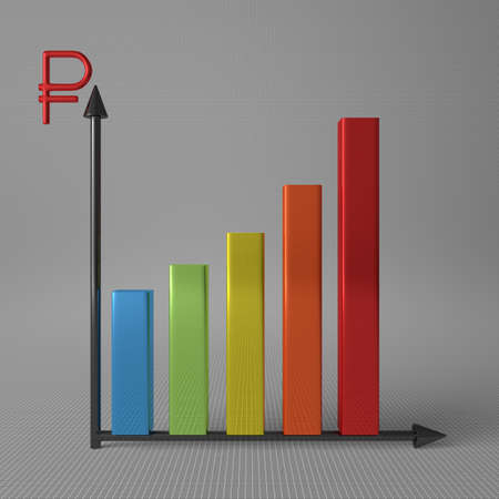 y axis: Multicolor glossy bar chart showing progress, with ruble sign on Y axis, standing on gray background, front view Stock Photo