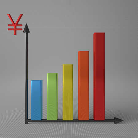 y axis: Multicolor glossy bar chart showing progress, with yuan sign on Y axis, standing on gray background, front view