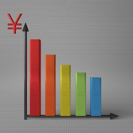 y axis: Multicolor glossy bar chart showing decrease, with yuan sign on Y axis, standing on gray background, front view