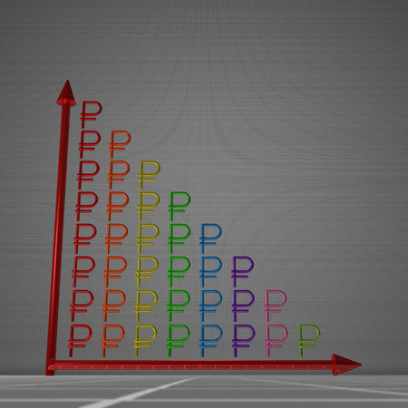 decrease: Multicolor glossy bar chart of ruble signs showing decrease, standing on gray background Stock Photo