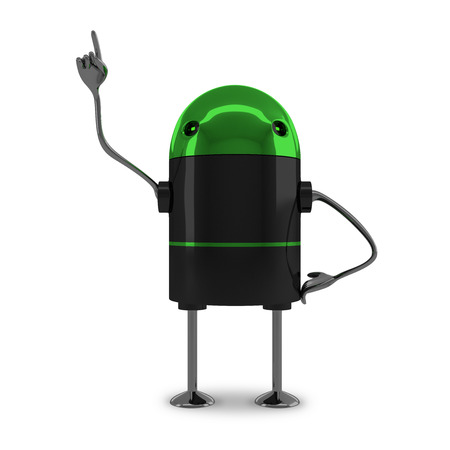 aha: Glossy robot with green head, black body, metallic arms and legs in moment of insight isolated on white background