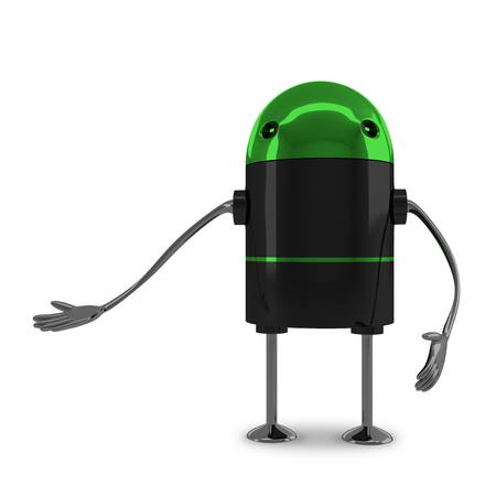 inviting: Glossy robot with green head, black body, metallic arms and legs making inviting gesture isolated on white background
