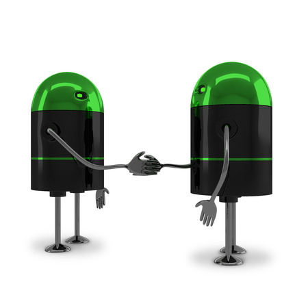 Two identical glossy robots with green heads handshaking isolated on white background photo