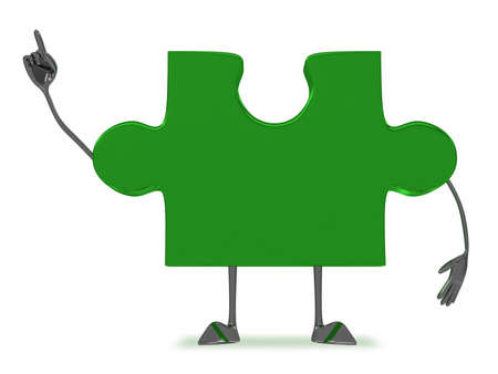 insight: Glossy green puzzle piece character in moment of insight isolated on white