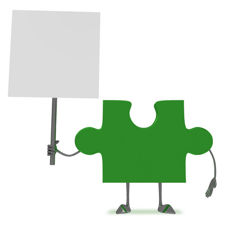 declare: Glossy green puzzle piece character with blank placard isolated on white