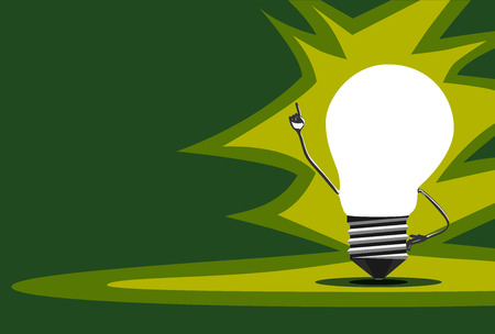 aha: Glowing light bulb character in moment of insight standing on green background