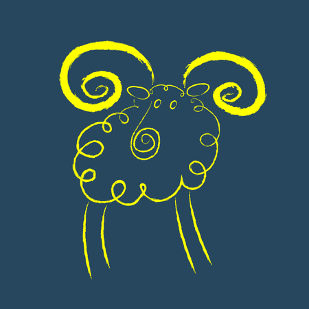 Scribble style yellow ram with magnificent twisted horns   Vector