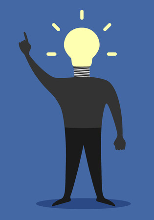 eps 10: Man with light bulb instead of head in moment of insight, EPS 10 vector illustration