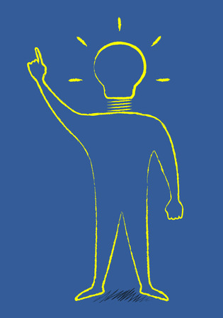aha: Scribble style man with light bulb instead of head in moment of insight