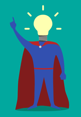 Hero with light bulb instead of head in moment of insight