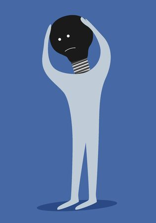 desperation: Man with dark light bulb instead of head, creative crisis concept