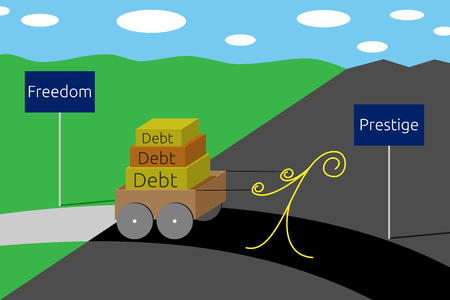 presti: Smutny człowiek ciągnąc wózek z długów na drodze od wolności do prestiżu, EPS wektor ilustracja 10