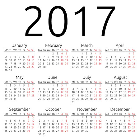 eps 8: Simple 2017 year calendar, EPS 8 vector Illustration