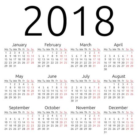 간단한 2018 년 달력