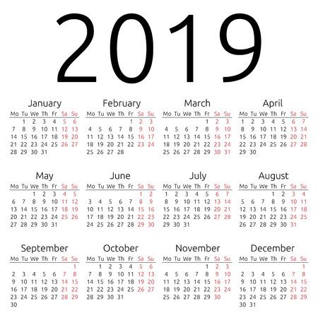 単純な 2019 年のカレンダー