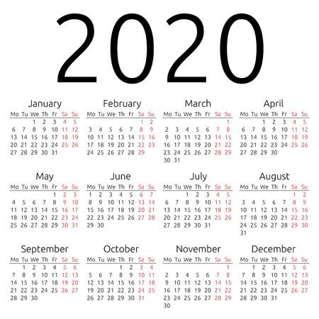 간단한 2,020년 달력