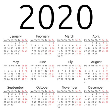 Simple 2020 year calendar Imagens - 38478895