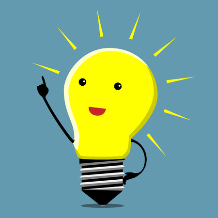 aha: Light bulb character in moment of insight
