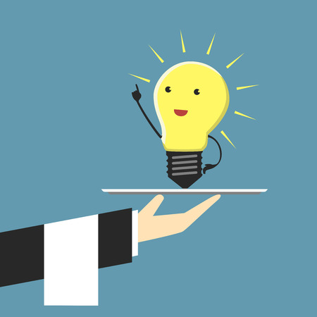 Serving light bulb character standing on plate in moment of insight     Vector