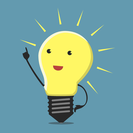 aha: Inspired light bulb character, aha moment