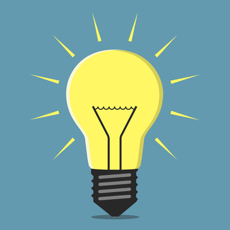 insight: Glowing light bulb, inspiration, insight concept