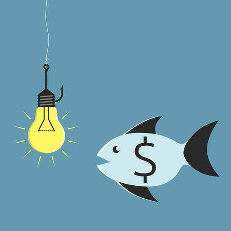 aha: Glowing lightbulb on fishing hook and fish with dollar sign looking at it. Idea and investment concept