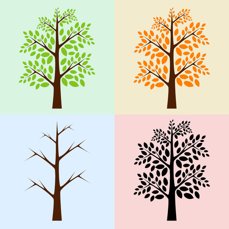 Set of vector trees for various seasons, spring or summer, autumn, winter and simple silhouette, EPS 10 vector illustration, no transparency Vector