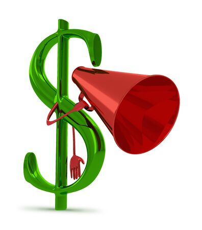 declare: Glossy green dollar sign character with red megaphone isolated on white Stock Photo