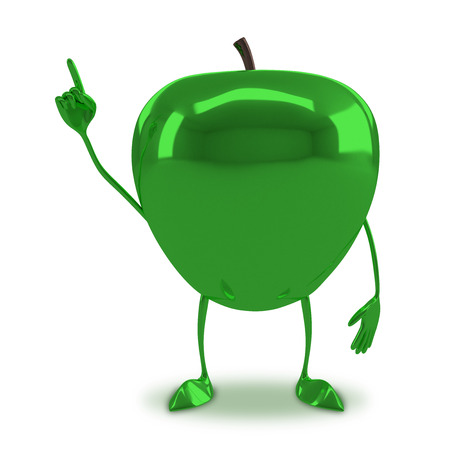 aha: Green glossy apple character in aha moment isolated on white background Stock Photo