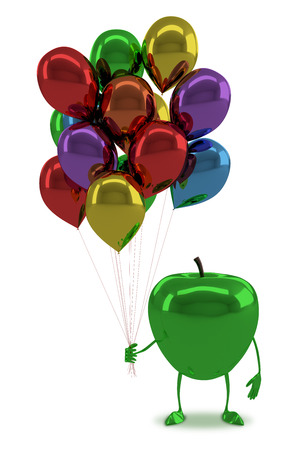 apple character: Green glossy apple character with many multicolor balloons isolated on white background Stock Photo