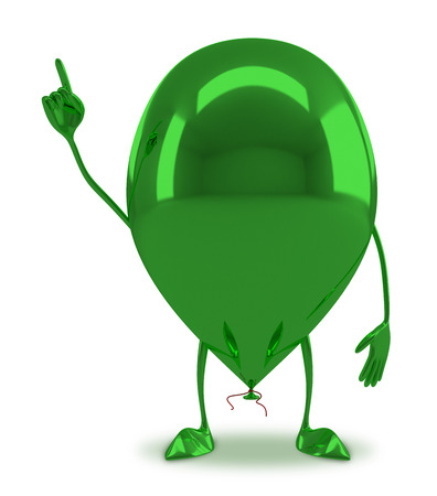 aha: Funny green glossy balloon character in aha moment isolated on white background