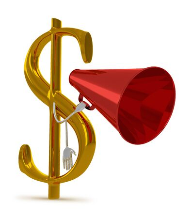 declare: Golden dollar sign character with red megaphone isolated on white