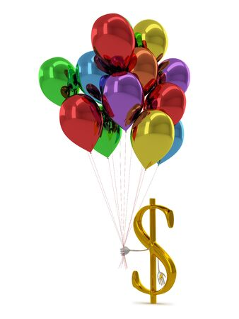 profit celebration: Golden dollar sign character with multicolor balloons isolated on white