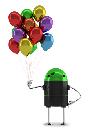 color consultant: Glossy robot with many multicolor balloons isolated on white background