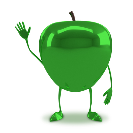 apple character: Green glossy apple character waving hand isolated on white background Stock Photo