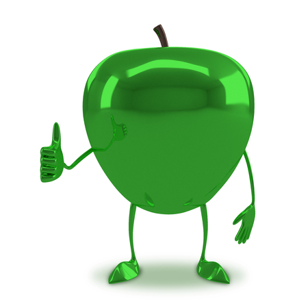 apple character: Green glossy apple character giving thumb up isolated on white background