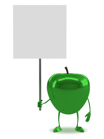 apple character: Green glossy apple character with blank placard isolated on white background, front view Stock Photo