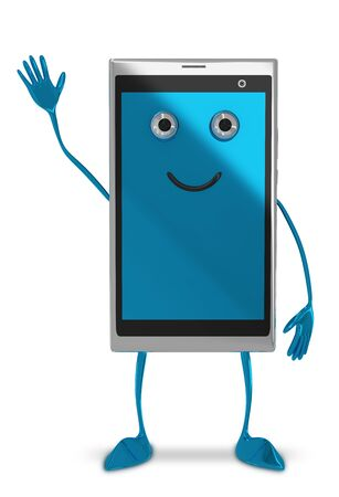 greet eyes: Cute smartphone character waving hand isolated on white background, front view