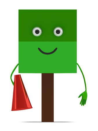 declare: Funny tree character with megaphone isolated on white background