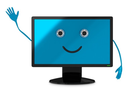mouth screen: Cute computer monitor character waving hand isolated on white background, front view